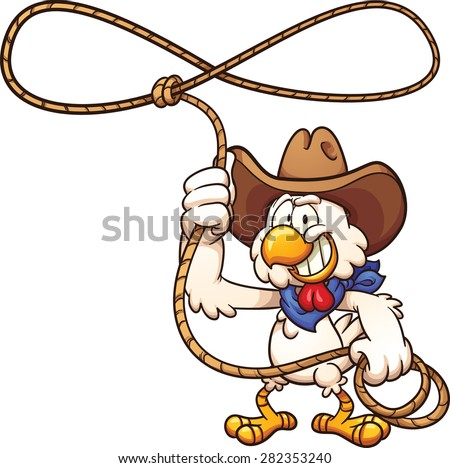 Cowboy chicken with lasso. Vector clip art illustration with simple gradients. All in a single layer. - stock vector