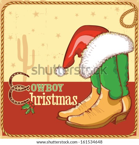 Cowboy christmas card with american boots and Santa hat.Vector illustration for design - stock vector