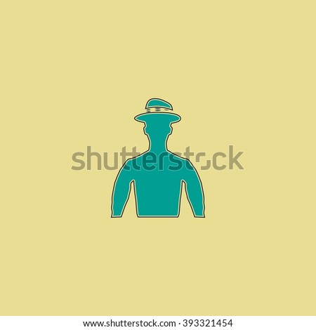 Cowboy Flat line icon on yellow background. Vector pictogram with stroke - stock vector