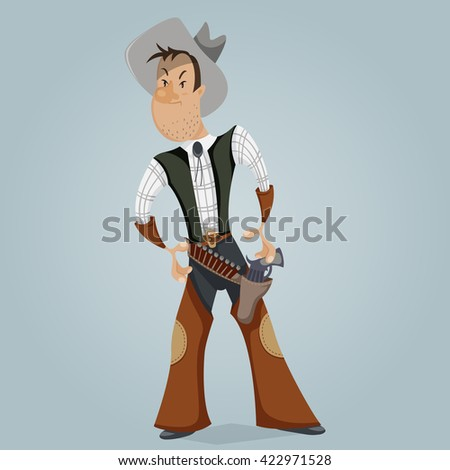 Cowboy. Funny cartoon character. Vector illustration in retro style - stock vector