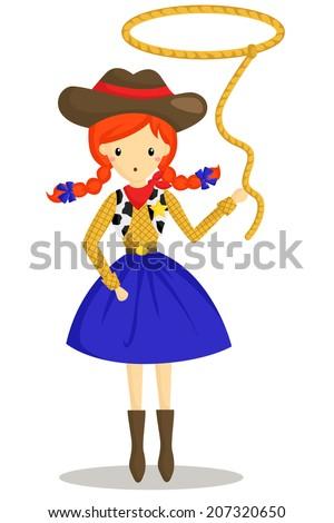 Cowboy Girl - stock vector