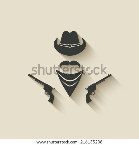 cowboy hat and gun - vector illustration. eps 10 - stock vector