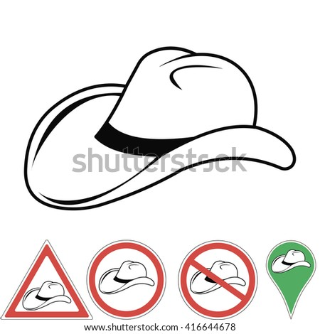 cowboy hat , cowboy accessory pointer signs in vector for print or design - stock vector
