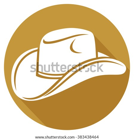 cowboy hat flat icon - stock vector