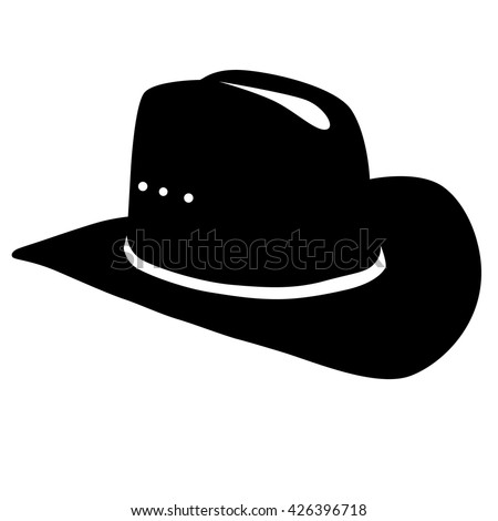 cowboy hat silhouette on white background - stock vector