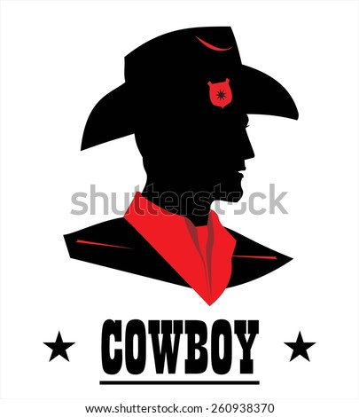 Cowboy Head Profile. Side view of cowboy head. Sheriff. Young Sheriff. Silhouette. Cowboy Silhouette - stock vector