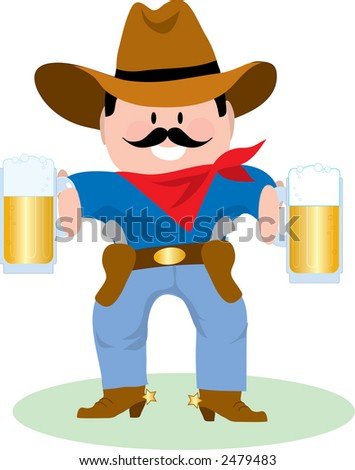 Cowboy Holding Two Mugs of Beer