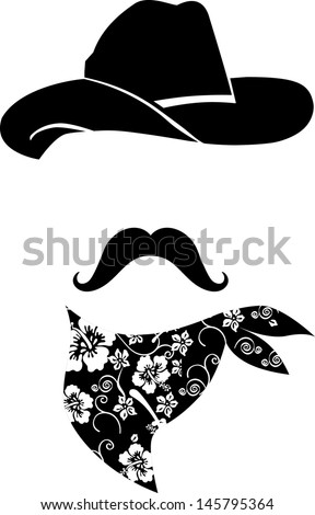 Cowboy icon. Retro Hat, mustache and scarf  - stock vector