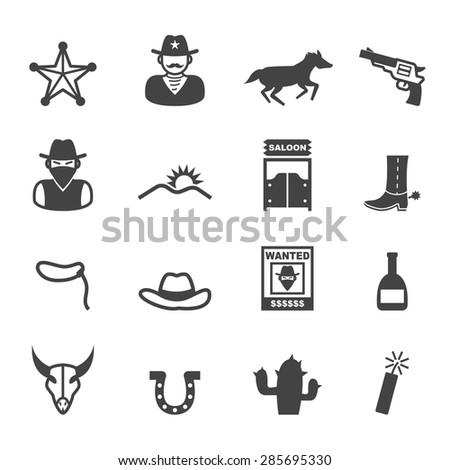 cowboy icons, mono vector symbols - stock vector