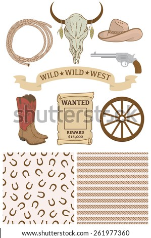 Cowboy Illustration with seamless patterns - stock vector