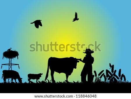 Cowboy in field - stock vector