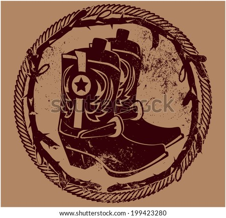 Cowboy Insignia - stock vector