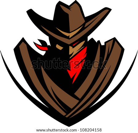 Cowboy Mascot Silhouette With Bandanna - stock vector