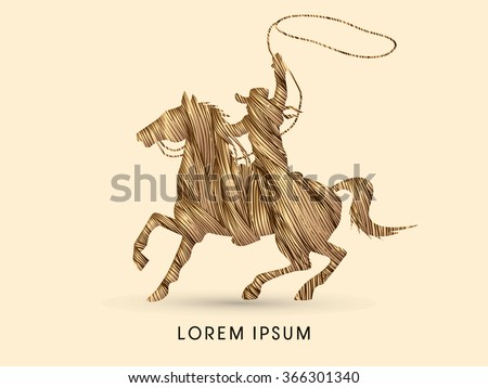 Cowboy on bucking horse running with lasso, designed using grunge brown brush graphic vector.