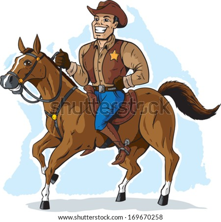 Cowboy on Horse - stock vector
