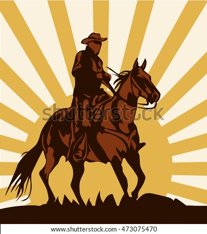 Cowboy on horse ride vintage vector poster