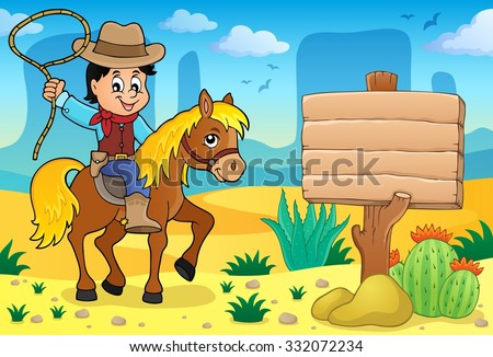 Cowboy on horse theme image 4 - eps10 vector illustration. - stock vector