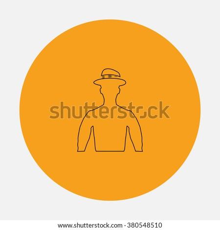 Cowboy Outline vector icon on orange circle. Flat line symbol pictogram  - stock vector