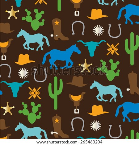 cowboy pattern - stock vector
