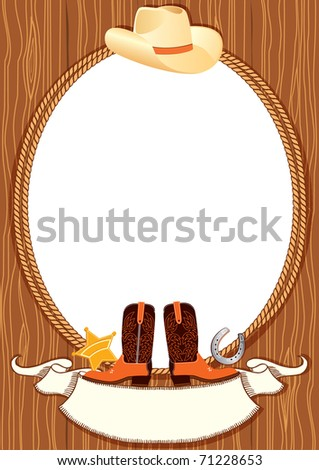 Cowboy poster background for design with cowboy elements.Vector - stock vector
