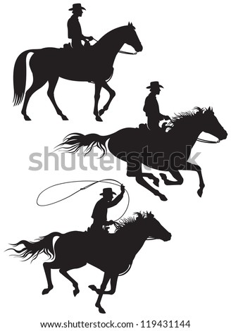 Cowboy rancher on the horse vector silhouettes from Wild West series