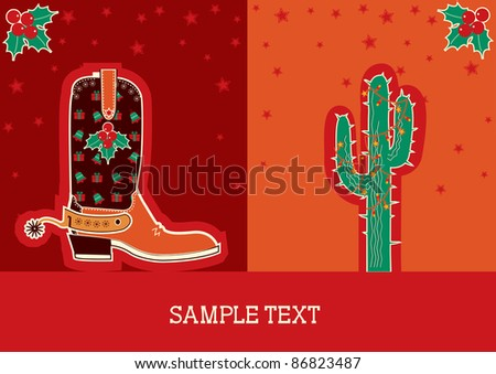 Cowboy red christmas  card with boots and holiday decoration - stock vector