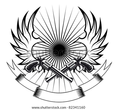 Cowboy revolvers with wings and ribbon for heraldic or tattoo design. Rasterized version also available in gallery - stock vector