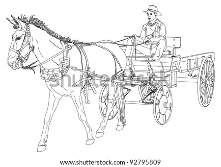 Horse wagon stock images royalty free images vectors shutterstock cowboy rides in a wagon pulled by a horse series of wild west vector ccuart Choice Image