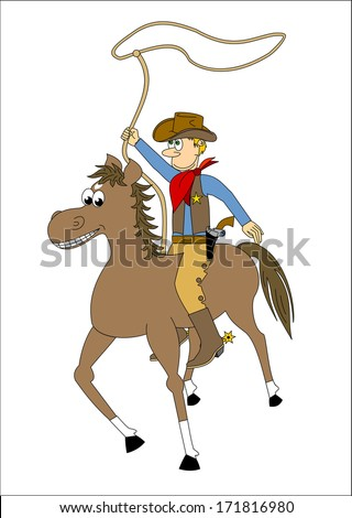 Cowboy riding a horse and spinning a lasso. cartoon, comic design, hand drawn, vector art image illustration, isolated on white background