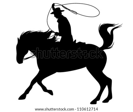 cowboy riding a horse and throwing lasso fine vector silhouette - black outline over white
