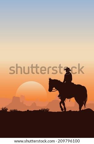 Cowboy riding horse silhouette - stock vector