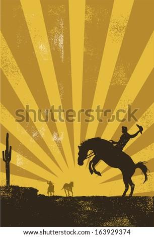 Cowboy riding wild horse at sunset, vector - stock vector