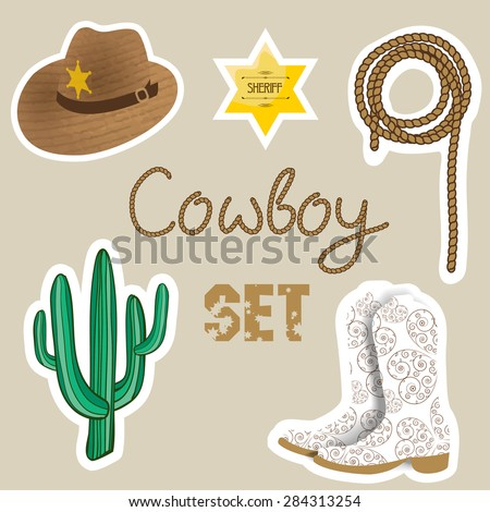 Cowboy set. Wild west background for your design. Cowboy elements set.  Boots,  sherif star, cactus, hat and lasso on pastel color  background. - stock vector