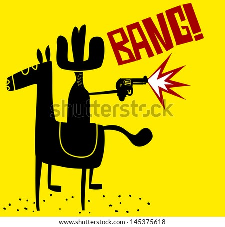 Cowboy shooting his gun - stock vector