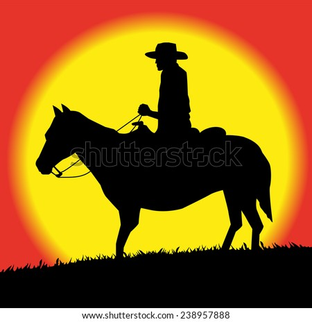 cowboy silhouette  on horse in the sunset - stock vector