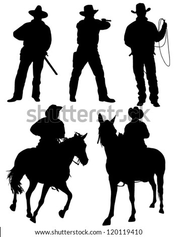 Cowboy Silhouette on white background - stock vector