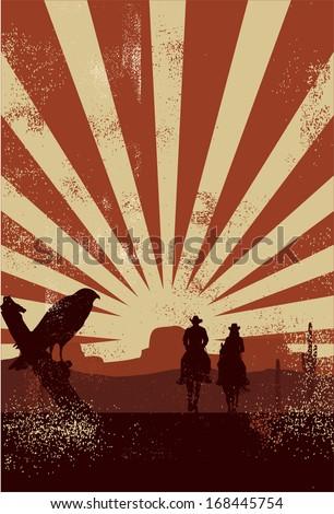 Cowboy silhouette, vector - stock vector