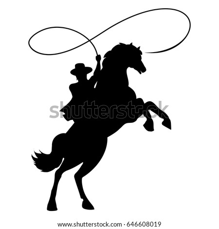 cowboy silhouette rope lasso on horse stock vector
