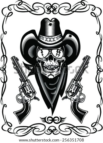 Cowboy Skull and Revolver  - stock vector