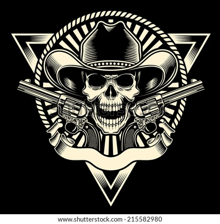 Cowboy Skull With Revolver - stock vector