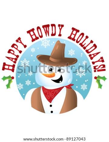 Cowboy Snowman - stock vector
