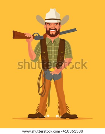 Cowboy. Vector flat cartoon illustration - stock vector