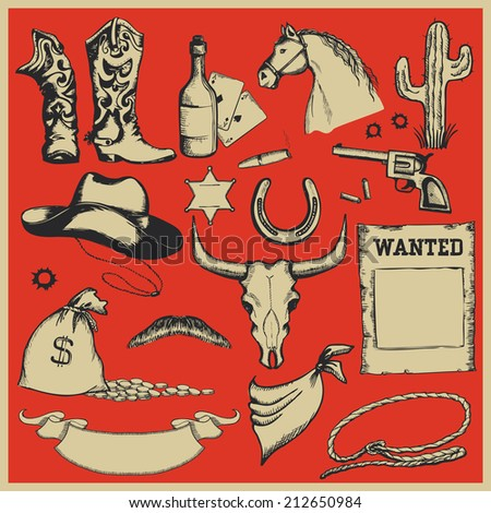 Cowboy Western set of objects.Vector illustration isolated for design - stock vector