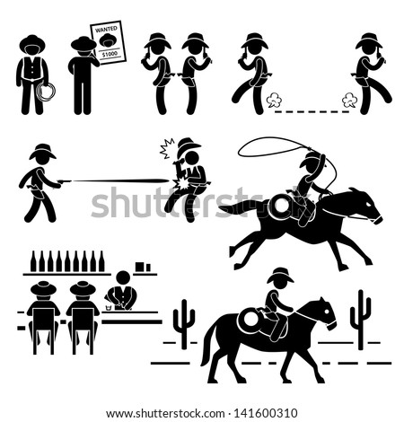 Cowboy Wild West Duel Bar Horse Stick Figure Pictogram Icon - stock vector