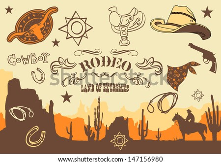cowboy. Wild West Western Elements, vector illustration - stock vector