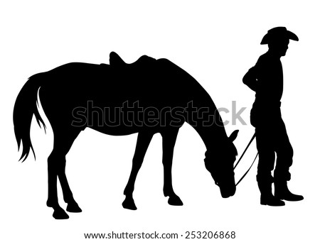 cowboy with his horse silhouette - stock vector