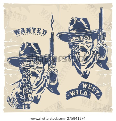 Cowboy with revolvers, silhouette, vector
