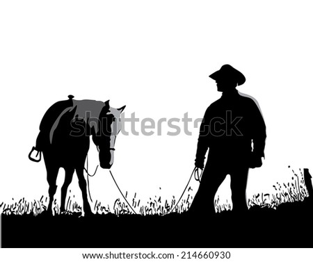 cowboy with the horse - stock vector