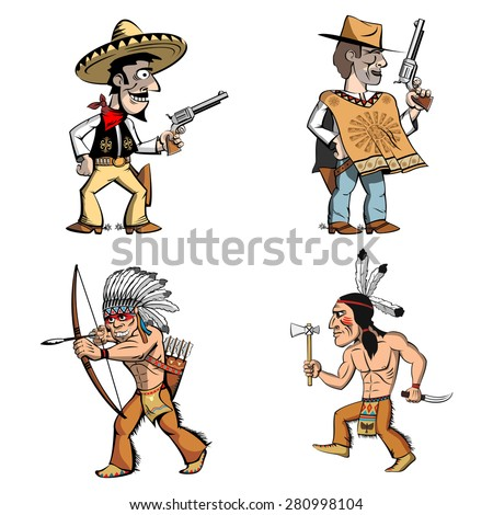 Cowboys and american indians in cartoon style. Residents of the Wild West. Mexican man in sombrero  with a gun, cowboy in poncho, indian with bow, indian with  knife and  tomahawk. - stock vector
