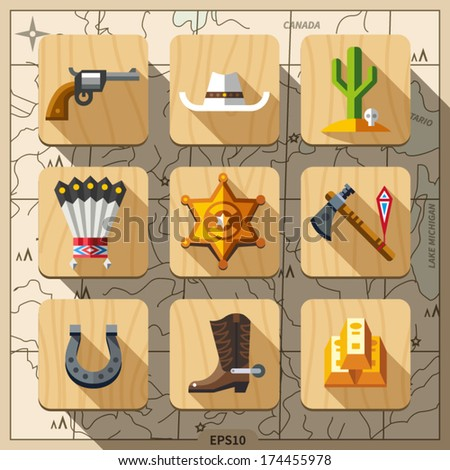 Cowboys and Wild West, flat icon set - stock vector